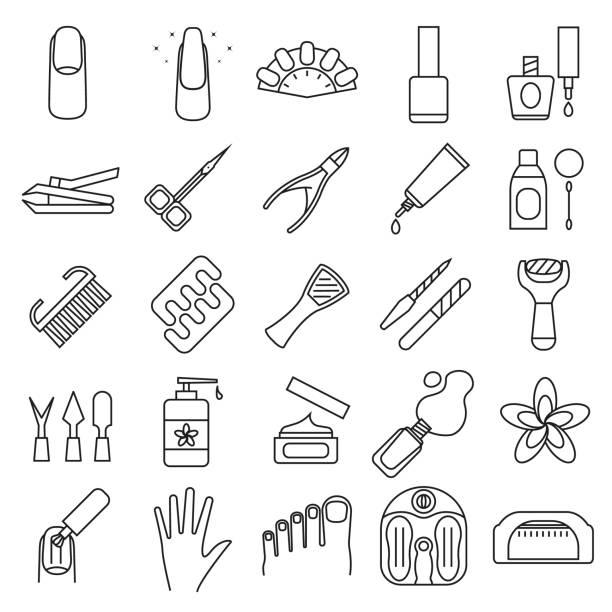 maniküre und pediküre zeichen schwarz dünne linie-icon-set. vektor - fußpflegeprodukte stock-grafiken, -clipart, -cartoons und -symbole