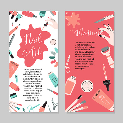 Manicure concept. Beauty studio and salon. Site header, banner, business card, brochure and flyer. Vector cartoon illustration