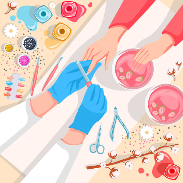 Manicure, hands and nails care top view vector illustration. Beauty salon and spa procedure concept vector art illustration