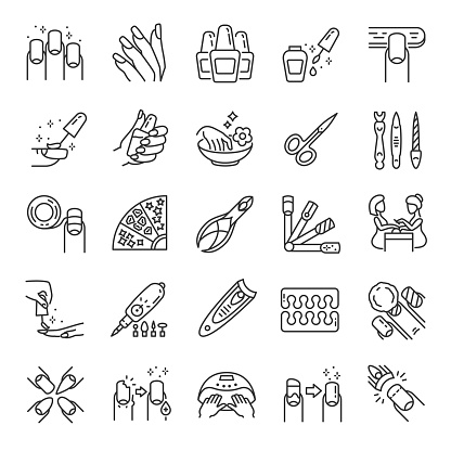 Manicure, icon set. Tools for cosmetic beauty treatment for the fingernails and hands, linear icons. Nail care. Line with editable stroke