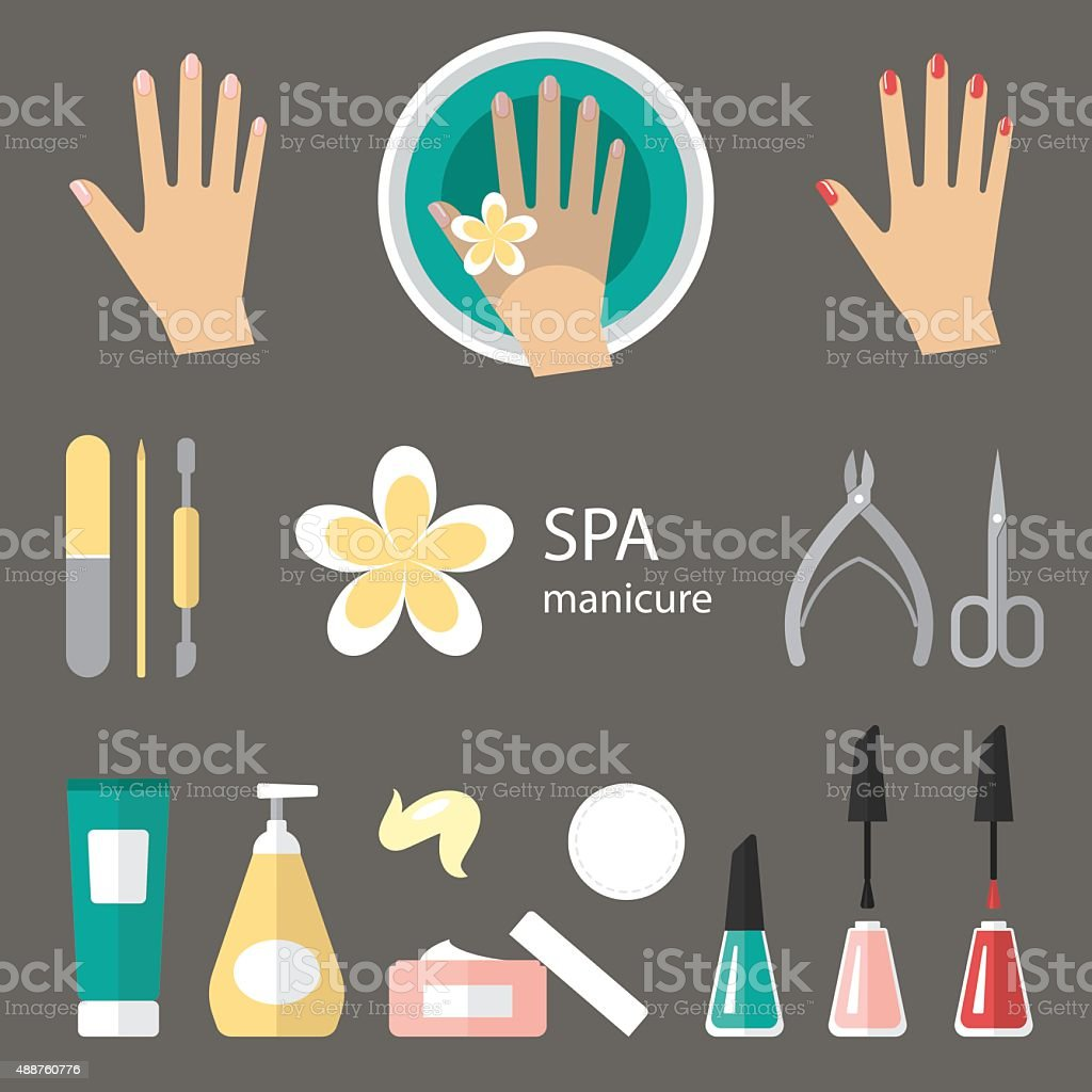 Manicure icons vector art illustration