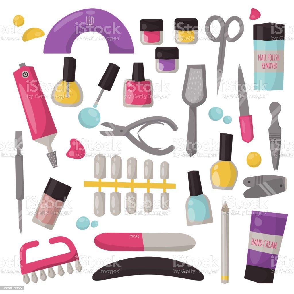 Manicure instruments vector set. - ilustração de arte em vetor