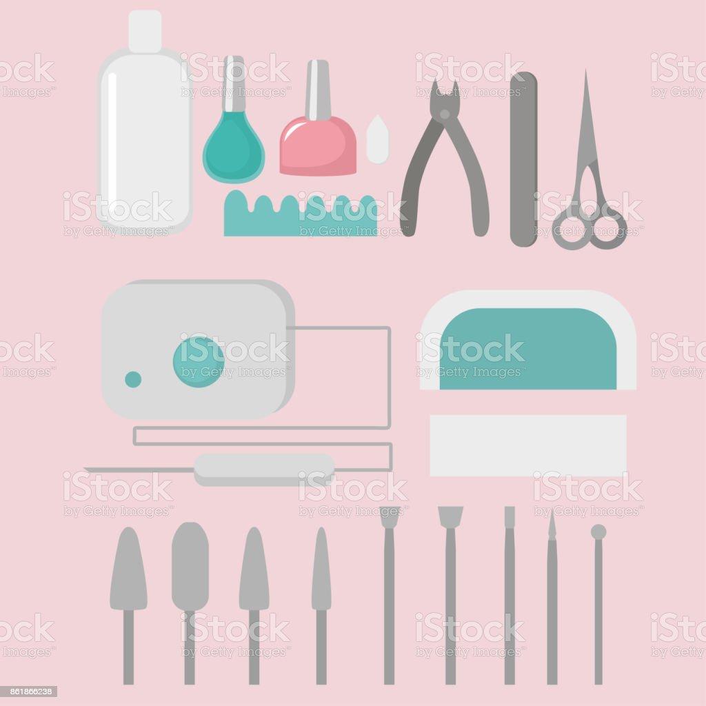 Ferramentas de instrumentos do prego do manicure. Acessórios e equipamentos - ilustração de arte em vetor