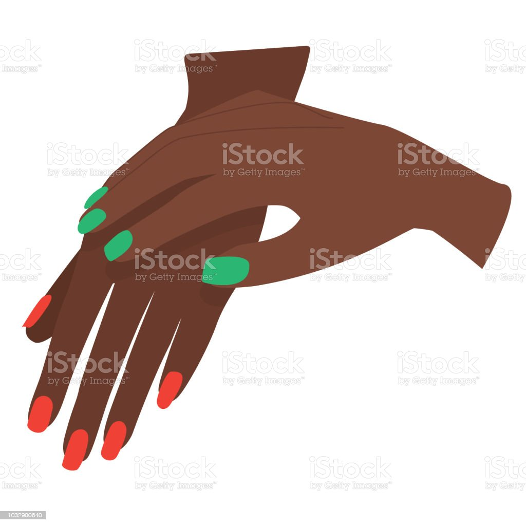 Manicure on Dark Skin in Christmas Colors vector art illustration