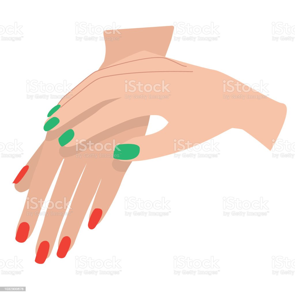 Manicure on Light Skin in Christmas Colors vector art illustration