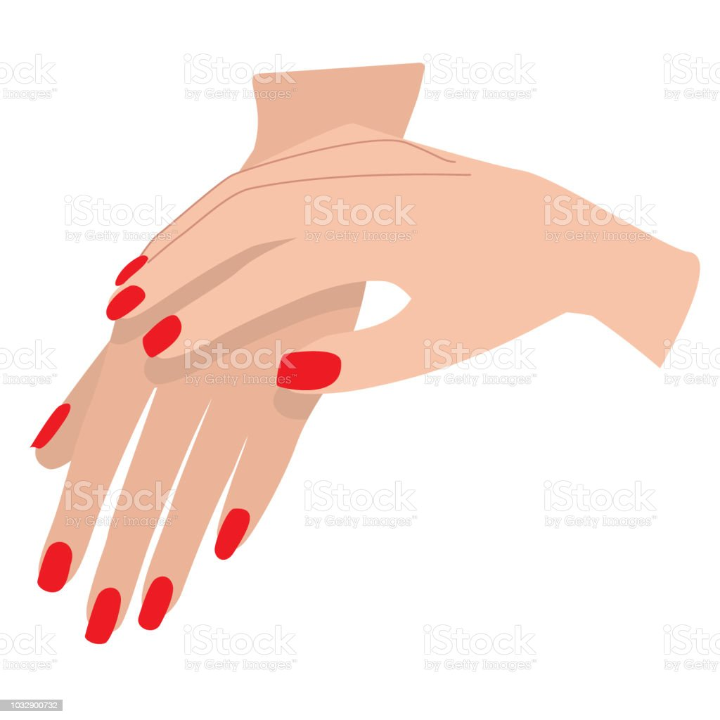 Manicure on Light Skin in Red vector art illustration