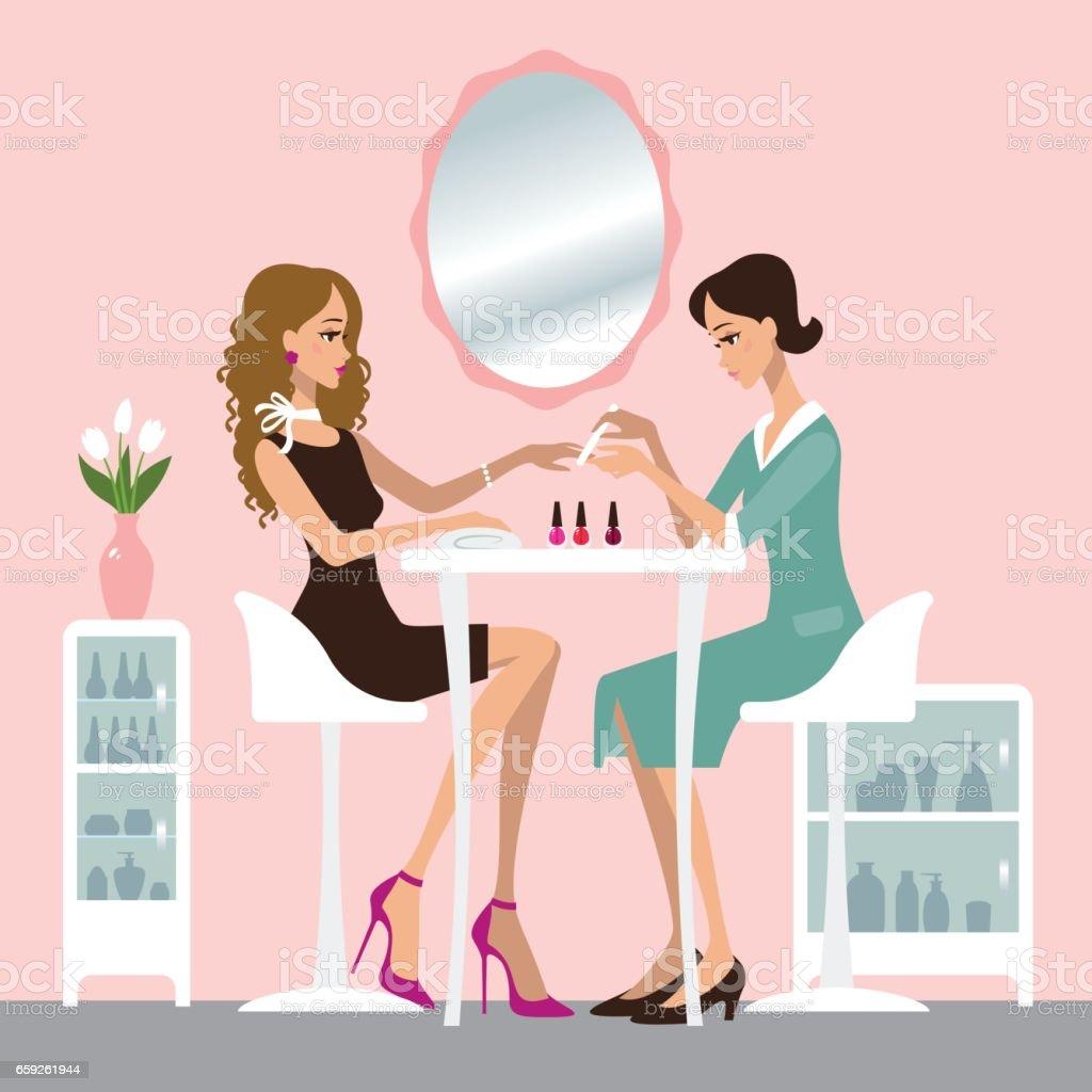 Manicure salon vector art illustration