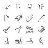 Manicure set of vector icons, nails care, outline style