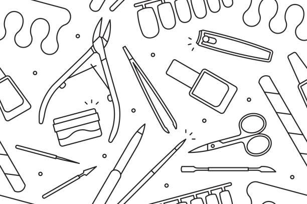 maniküre instrumente nahtlose muster - fußpflegeprodukte stock-grafiken, -clipart, -cartoons und -symbole