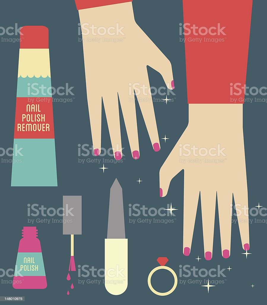 Manicured hands and nails vector art illustration