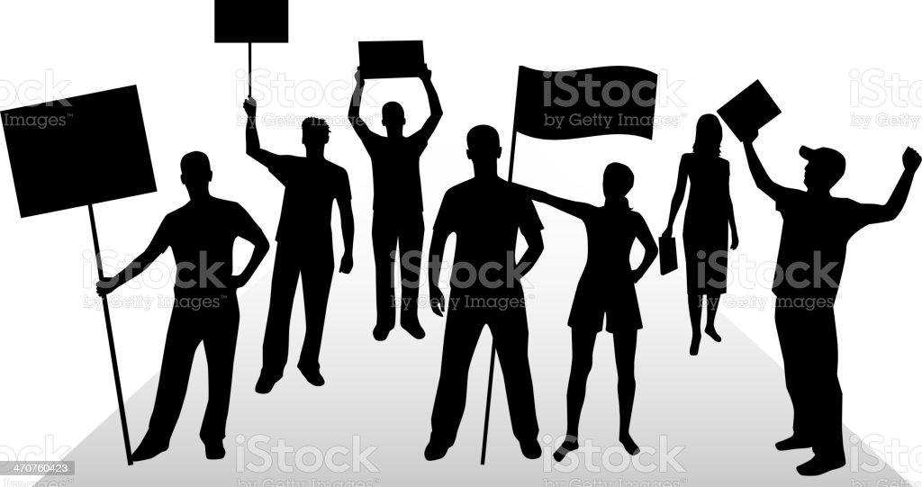 manifestation - a group of people protesting vector art illustration