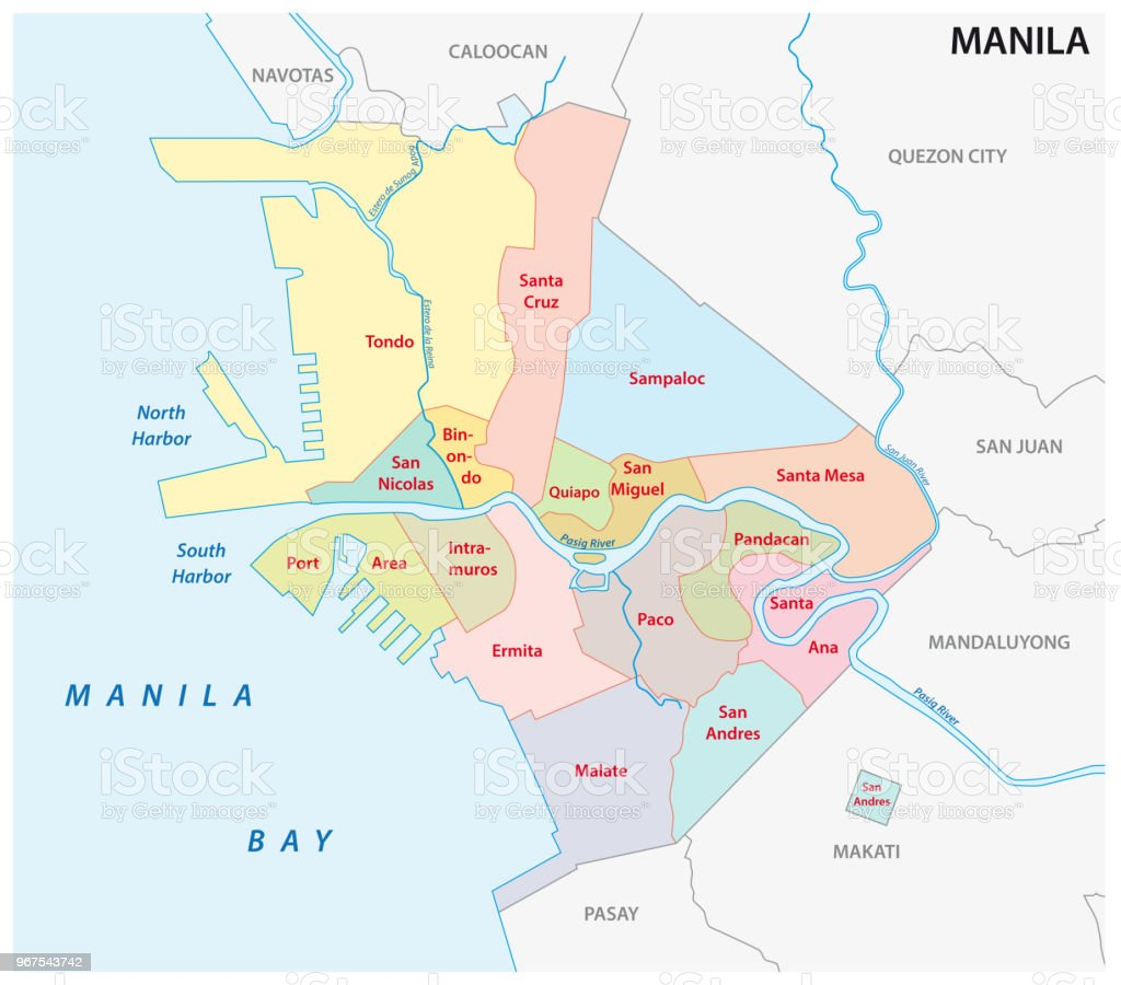 manila administrative and political vector map, philippines vector art illustration