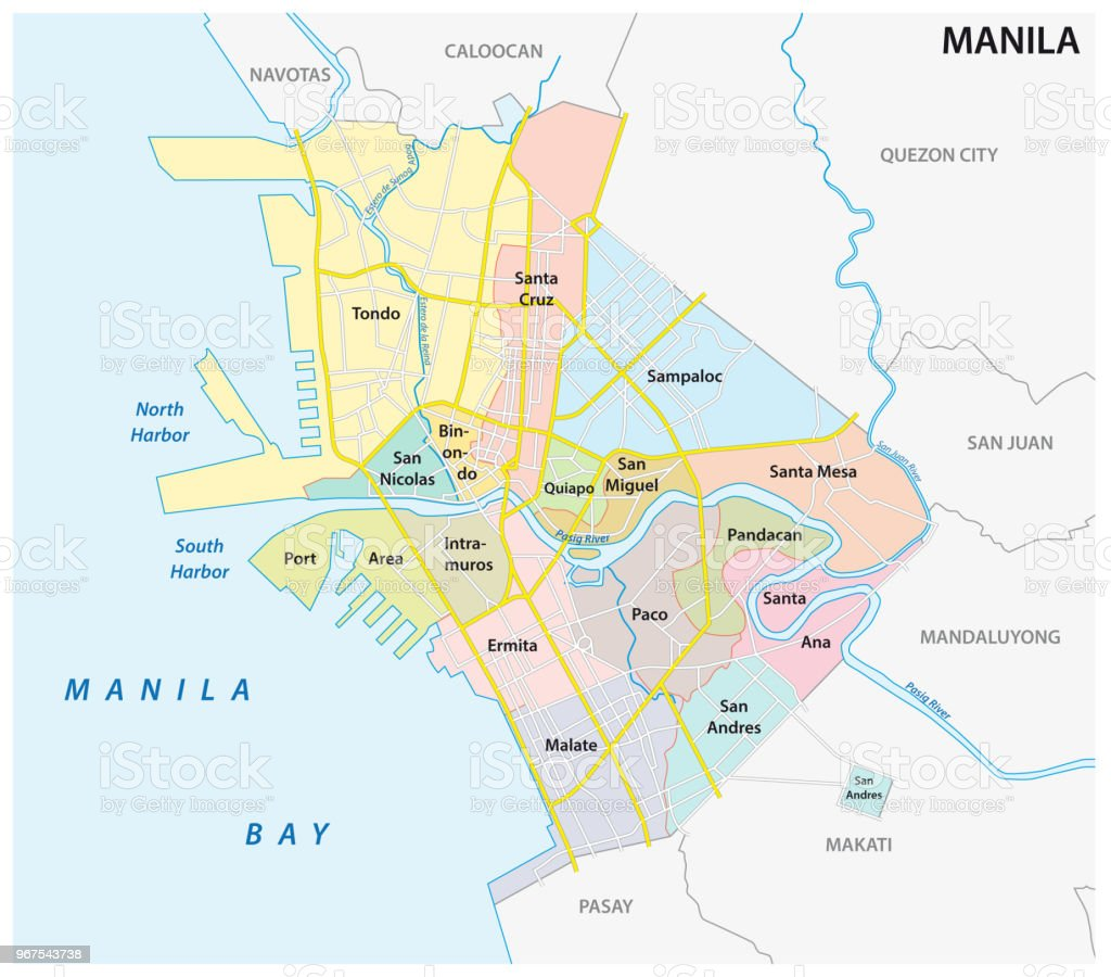 manila administrative, political and road vector map, philippines vector art illustration