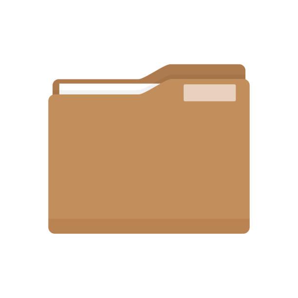 stockillustraties, clipart, cartoons en iconen met manilla folder met document - dossier