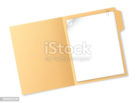 Manila folder with paper and notes with copy space.