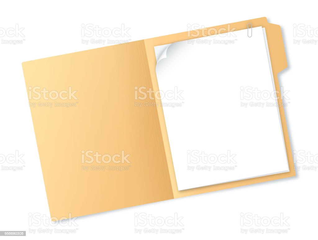 Manila Folder with Papers vector art illustration