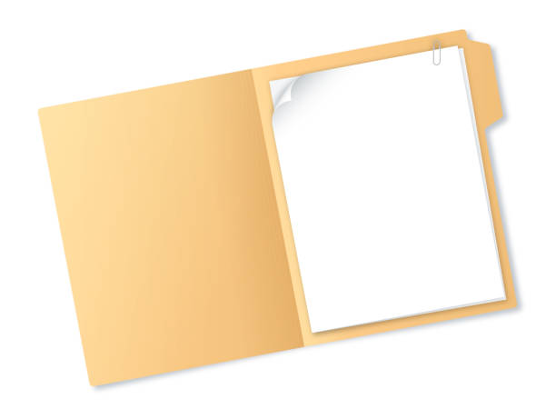 manila folder with papers - folder stock illustrations, clip art, cartoons, & icons