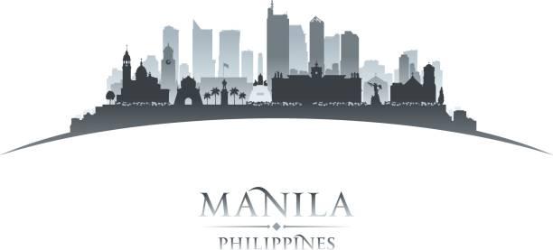 stockillustraties, clipart, cartoons en iconen met manilla filippijnen stad skyline van silhouet - filipijnen