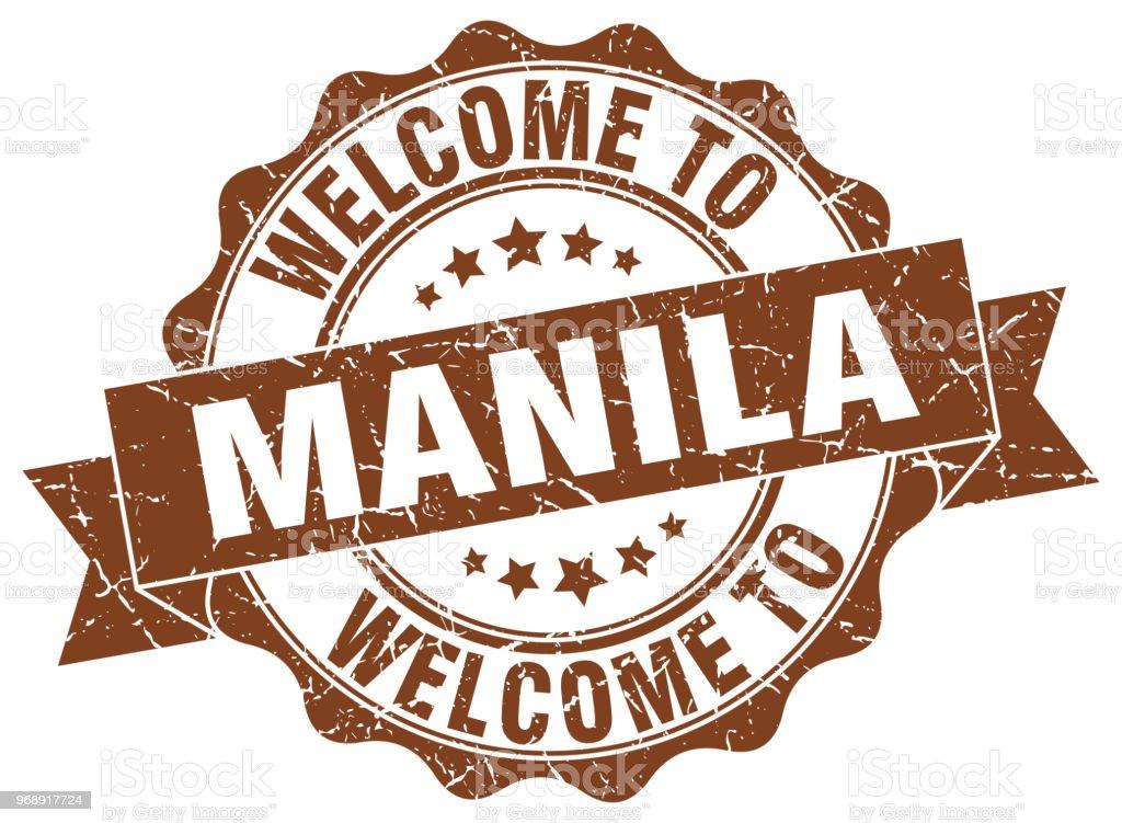 Manila round ribbon seal vector art illustration