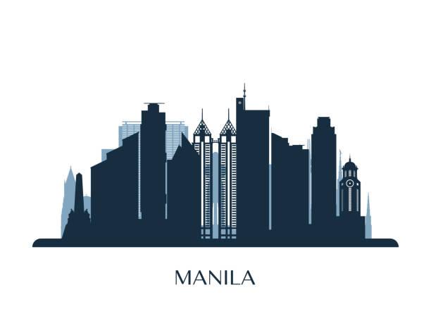 stockillustraties, clipart, cartoons en iconen met manilla skyline, zwart-wit silhouet. vectorillustratie. - filipijnen