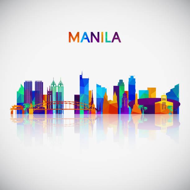 stockillustraties, clipart, cartoons en iconen met manilla skyline van silhouet in kleurrijke geometrische stijl. symbool voor uw ontwerp. vectorillustratie. - filipijnen