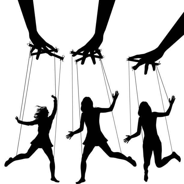 팔 꼭두각시 실루엣 제어 조작 - 퍼펫인형 stock illustrations