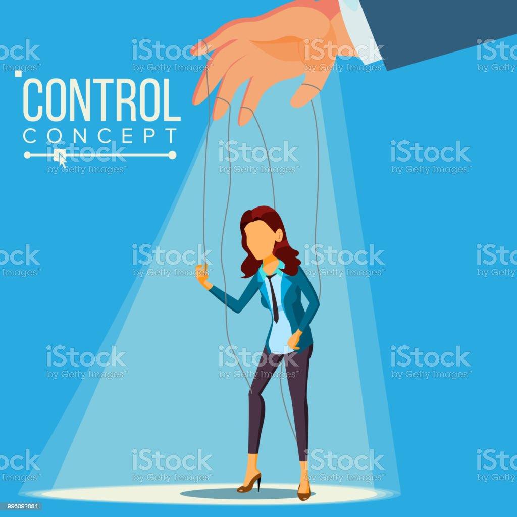 Manipulasyon Is Kadin Vektor Kukla Kavrami Halatlar Uzerinde