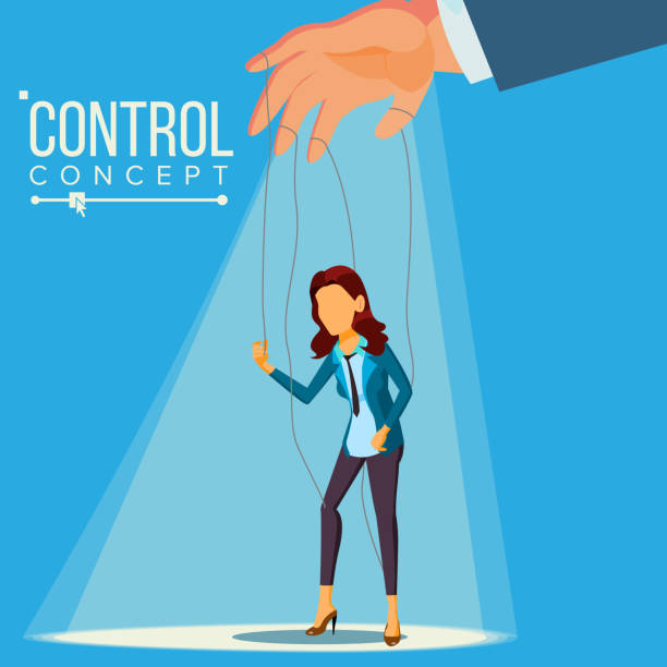 manipulation business woman vector. marionette concept. worker on ropes. dishonestly under the influence of boss. unfair. cartoon illustration - marionetka stock illustrations