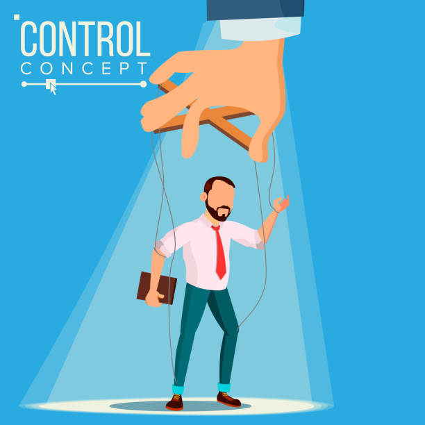 manipulation businessman vector. control concept. person on ropes. dishonestly under the influence. unfair. cartoon illustration - kukiełka stock illustrations