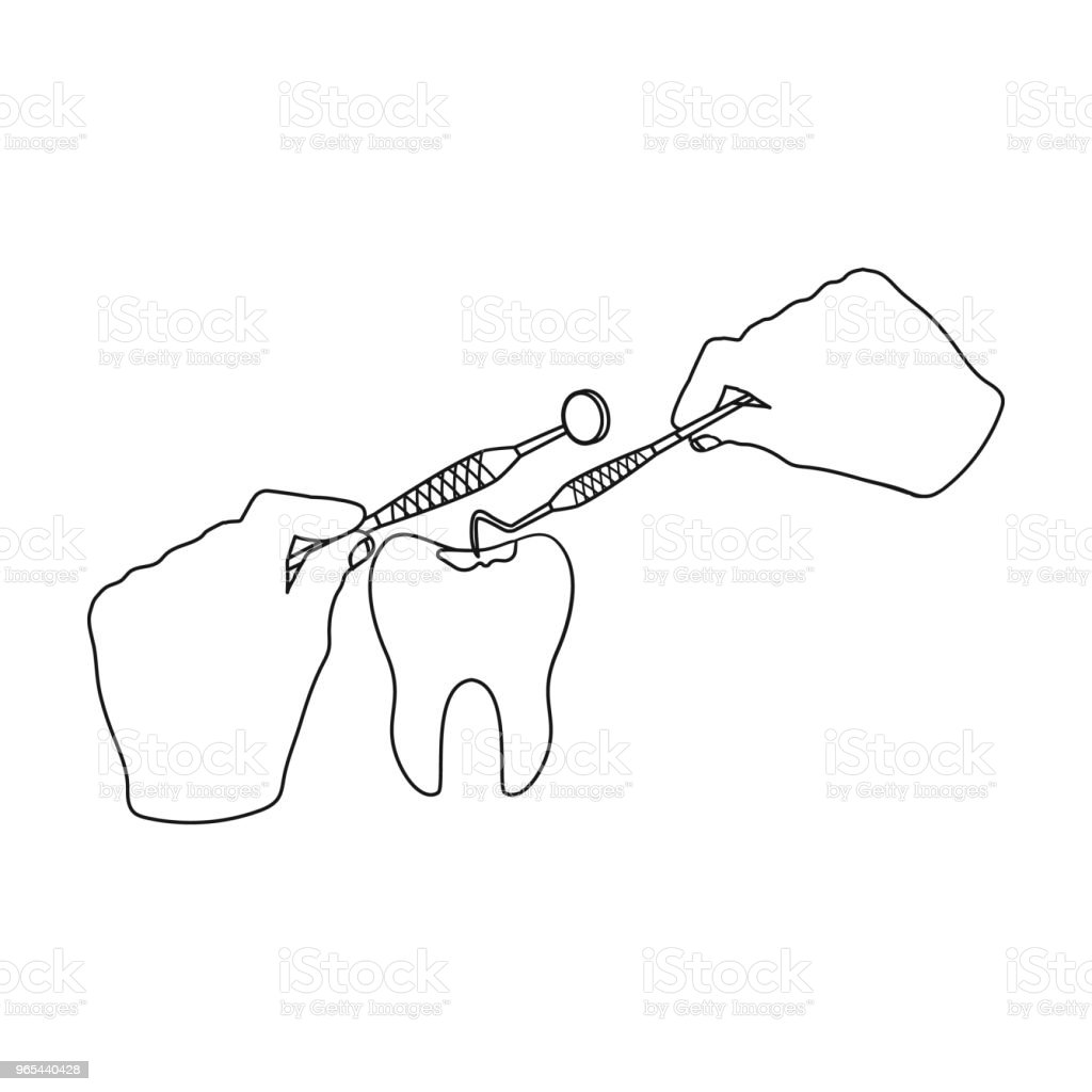 Manipulation, gesture of the hands of the dentist with the instrument over the damaged tooth. Stomatology single icon in outline style vector symbol stock illustration web. manipulation gesture of the hands of the dentist with the instrument over the damaged tooth stomatology single icon in outline style vector symbol stock illustration web - stockowe grafiki wektorowe i więcej obrazów ból royalty-free