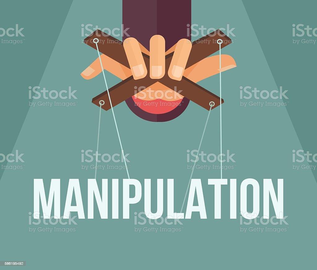 Manipulation hand. Vector flat cartoon illustration - Grafika wektorowa royalty-free (Asystent)