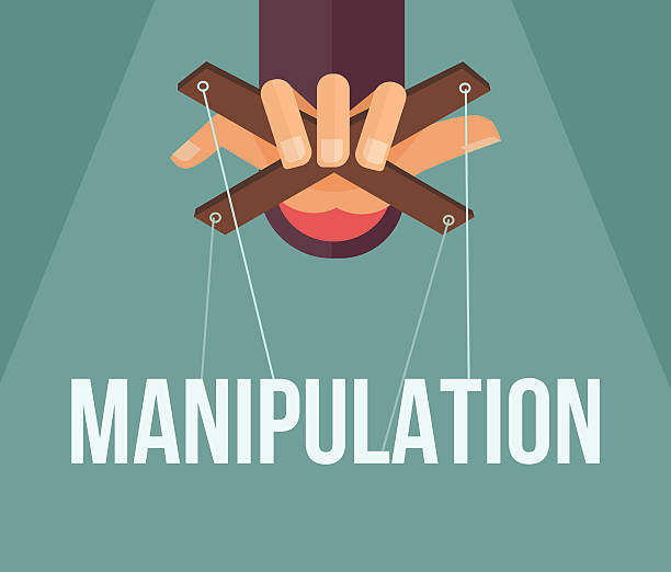 manipulation hand. vector flat cartoon illustration - kukiełka stock illustrations