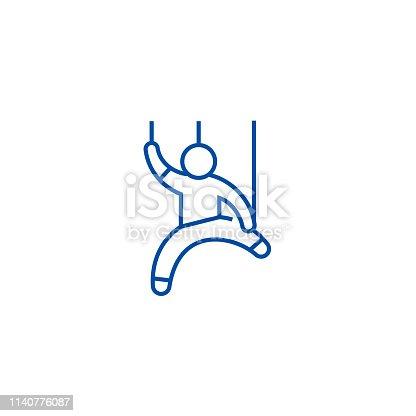 Manipulation,man doll line concept icon. Manipulation,man doll flat  vector website sign, outline symbol, illustration.