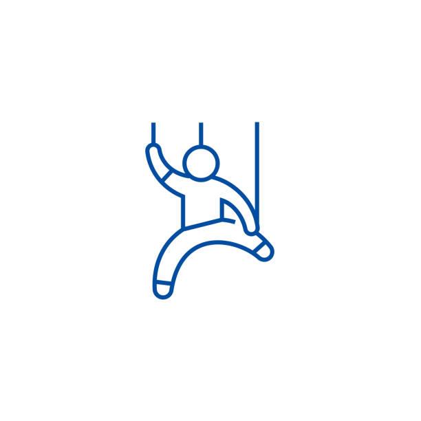 manipulation,man doll line icon concept. manipulation,man doll flat  vector symbol, sign, outline illustration. - marionetka stock illustrations