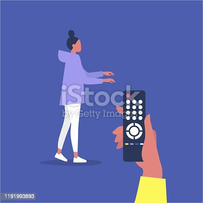 Manipulative relationships, young female character being manipulated by a remote control