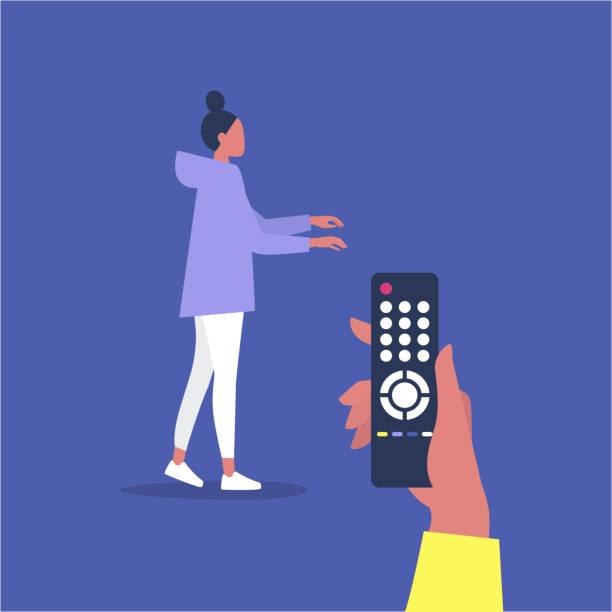 操作的な関係、リモコンで操作されている若い女性のキャラクター - リモート点のイラスト素材/クリップアート素材/マンガ素材/アイコン素材