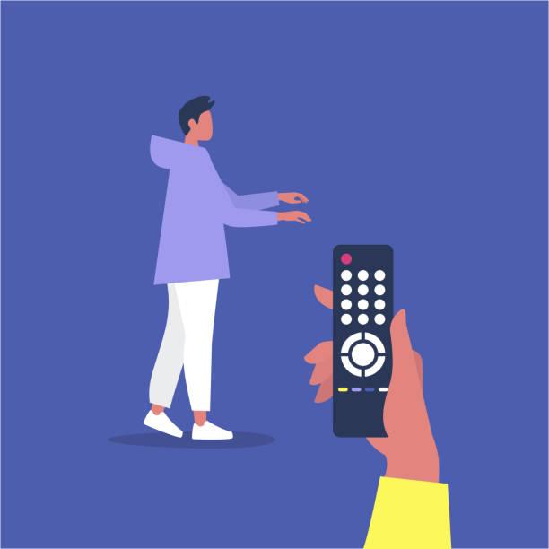 操作的な関係、若い男性のキャラクターは、リモコンによって操作されている - リモート点のイラスト素材/クリップアート素材/マンガ素材/アイコン素材