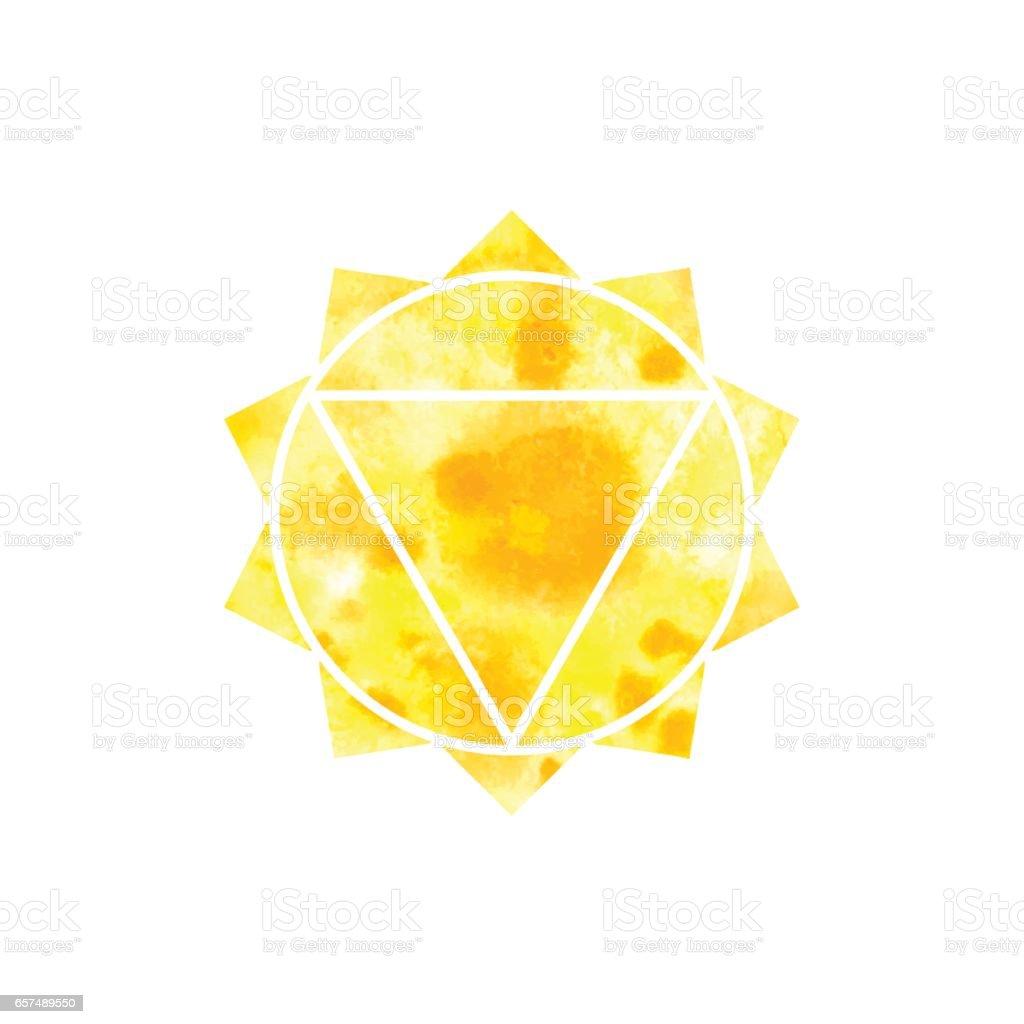 Manipura Chakra. Heilige Geometrie. Eines der Energiezentren im menschlichen Körper. – Vektorgrafik