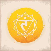 Vintage Watercolour Chakra Symbol 3. The Manipura Chakra in the middle of a 10-petaled Lotus flower. Manipura governs digestion, mentally it governs personal power, emotionally it governs expansiveness, and spiritually, all matters of growth.