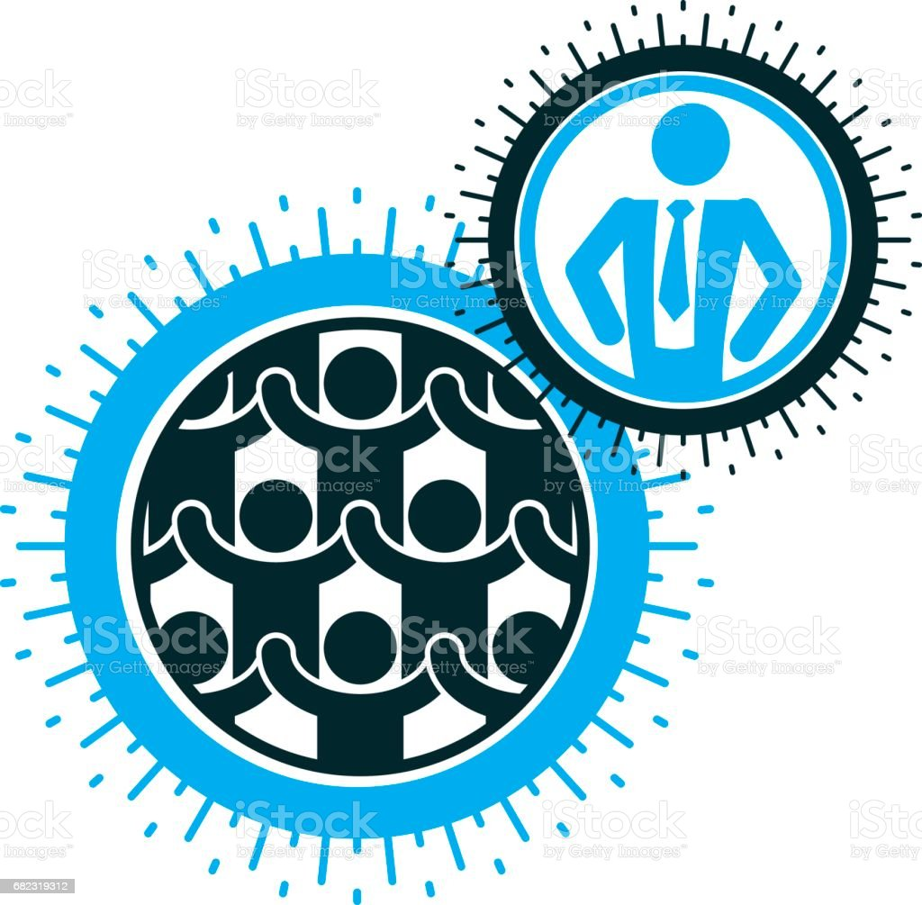 Mankind and Person conceptual emblem, unique vector symbol created with different icons. System and social Matrix sign. Person and world interacts with each other. System and social Matrix sign. vector art illustration