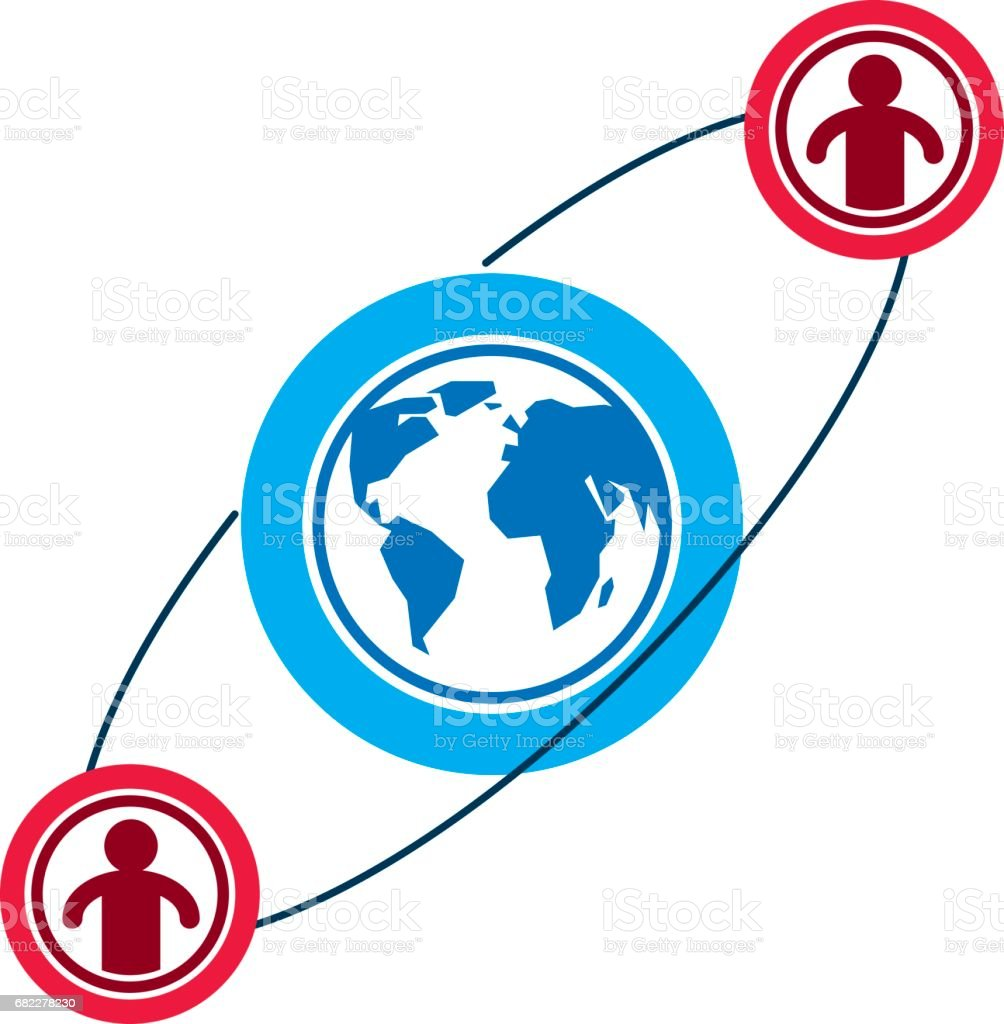 Mankind and Person conceptual icon, unique vector symbol created with different icons. System and social Matrix sign. Person and world interacts with each other. System and social Matrix sign. vector art illustration