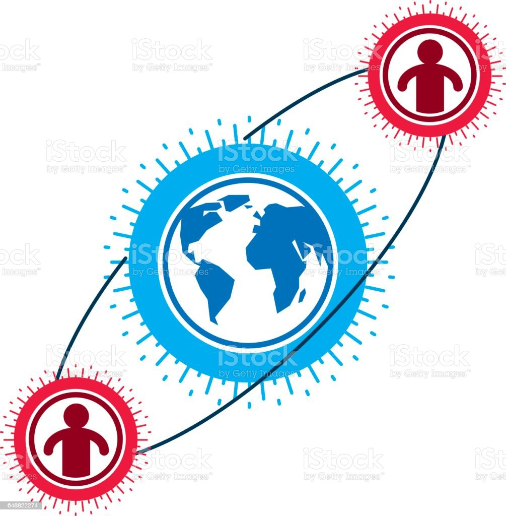 Mankind and Person conceptual logo, unique vector symbol created with different icons. System and social Matrix sign. Person and world interacts with each other. System and social Matrix sign. vector art illustration