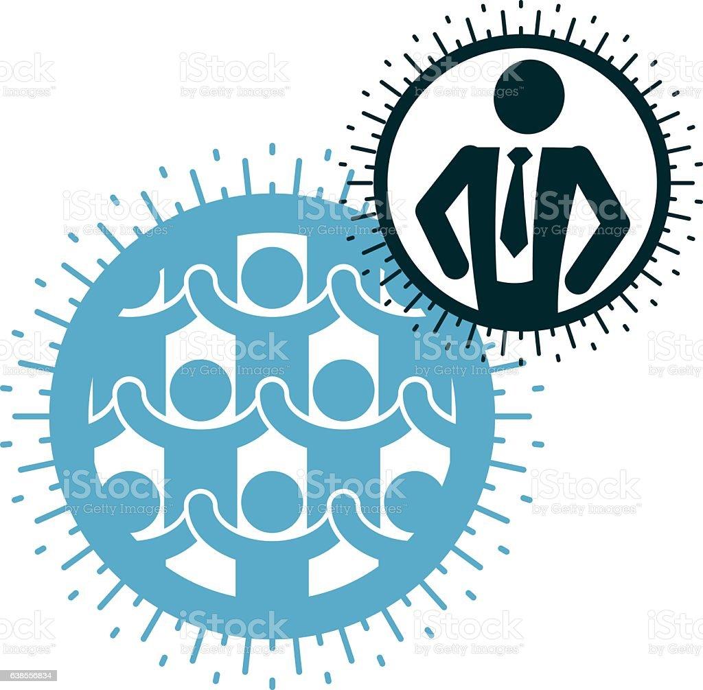 Mankind and Person conceptual logo, unique vector symbol vector art illustration