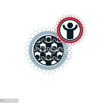 Mankind and Person conceptual unique vector symbol created with different icons. System and social Matrix sign. Person and world interacts with each other.