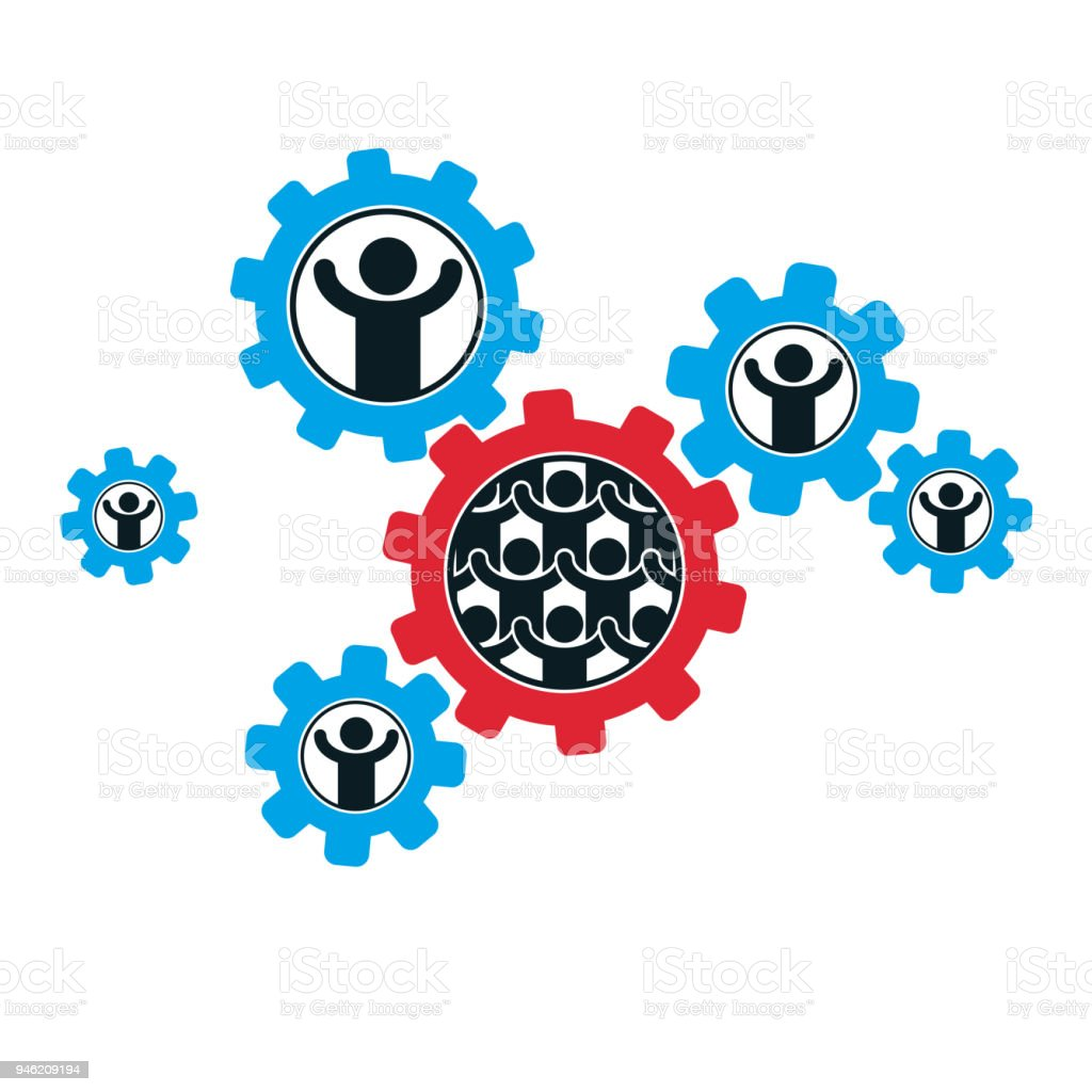 Mankind and Person conceptual unique vector symbol created with different icons. System and social Matrix sign. Person and world interacts with each other. vector art illustration