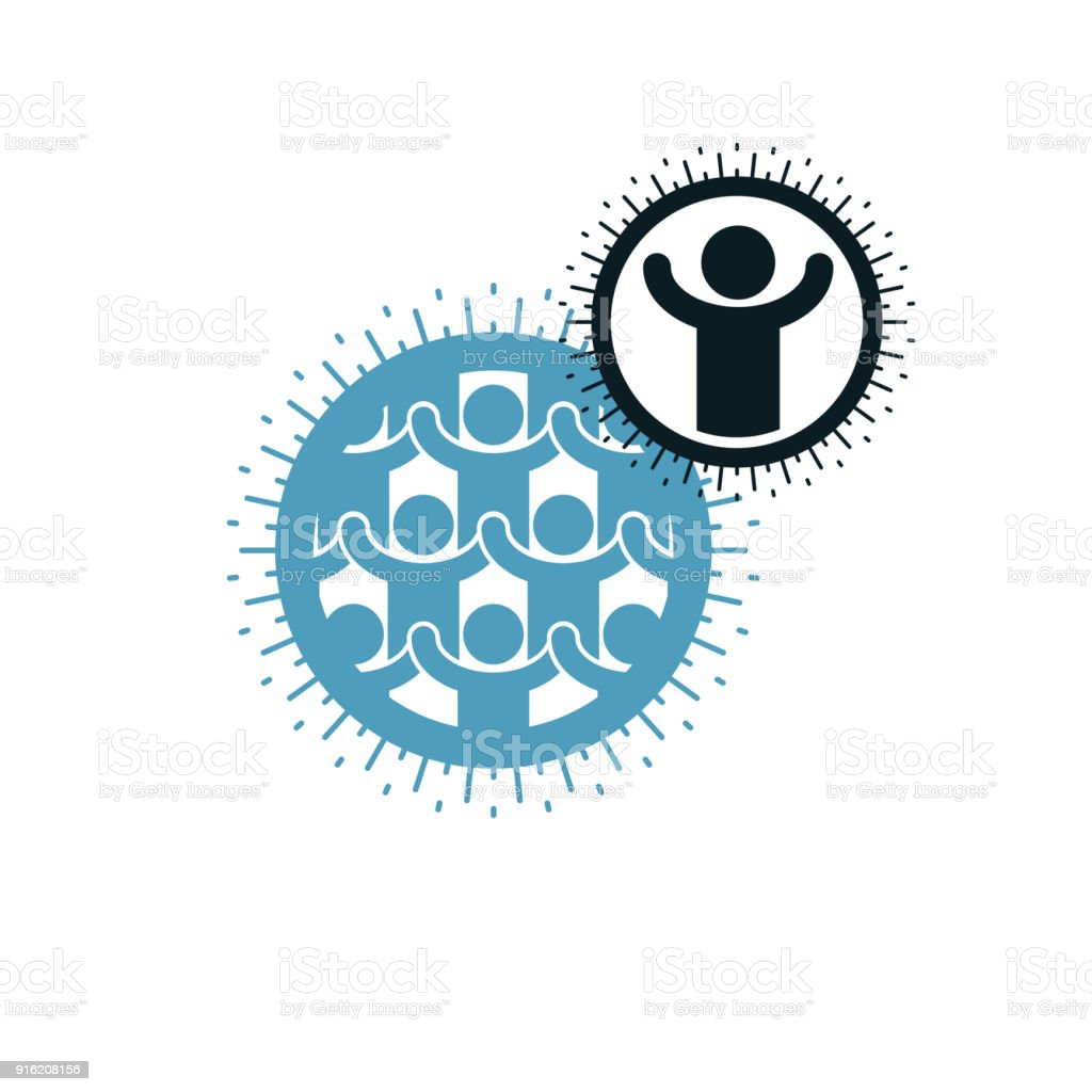Mankind and Person conceptual vector symbol created with different icons. System and social Matrix sign. Person and world interacts with each other. vector art illustration