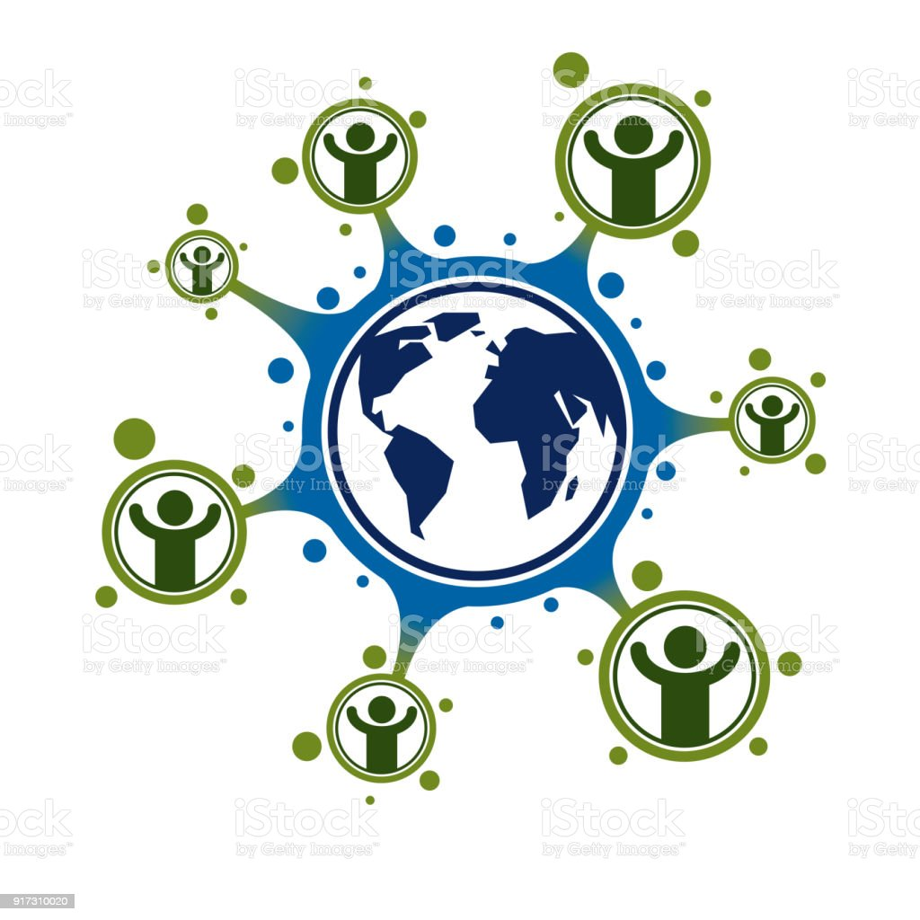 Mankind and Person conceptual vector symbol created with different icons. System and social Matrix sign. Person and world interacts with each other. System and social Matrix sign. vector art illustration