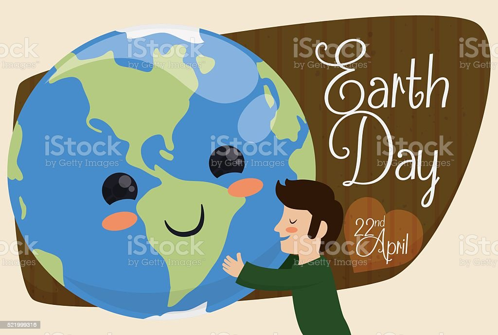Mankind Embracing Cute Planet for Earth Day Holiday vector art illustration