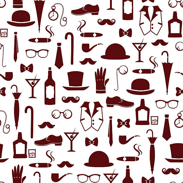 stockillustraties, clipart, cartoons en iconen met manly items - guy with cigar