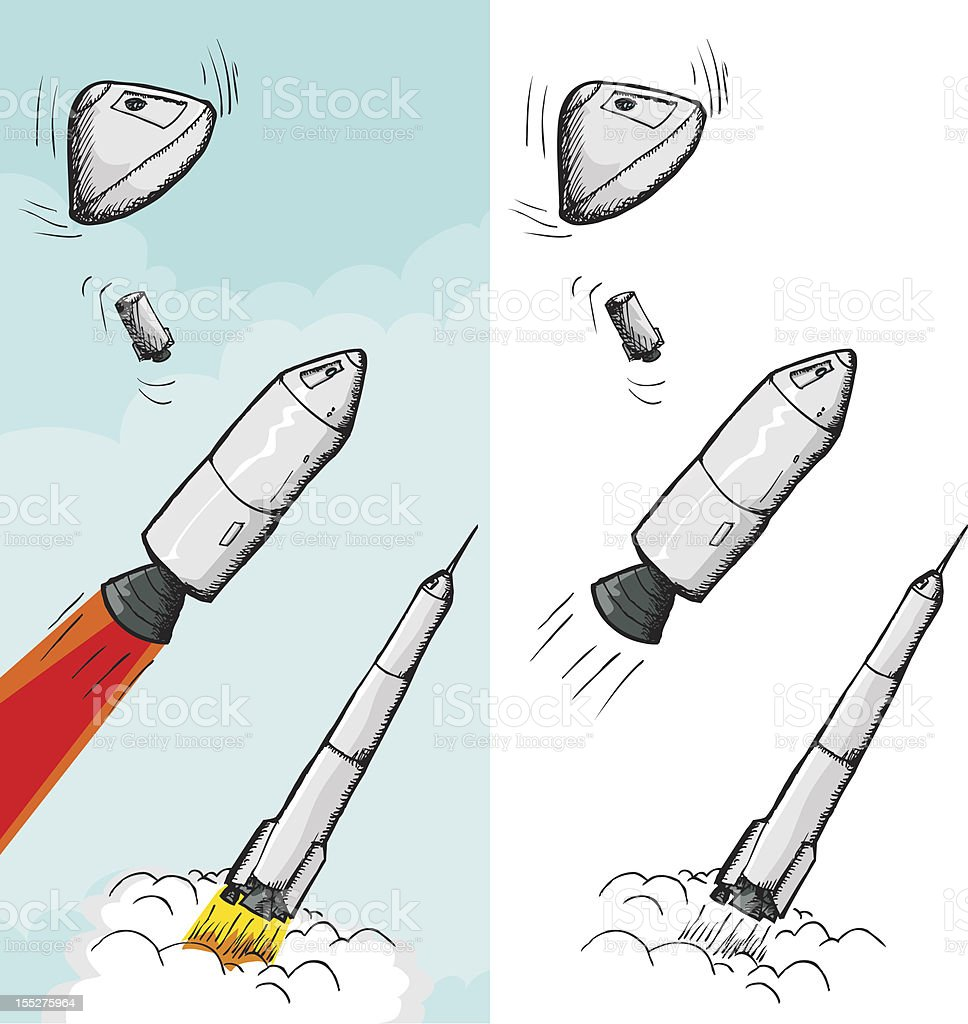 Manned Rocket Stages vector art illustration